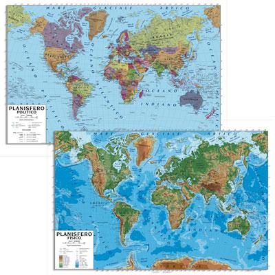 Mappamondo Cartina Geografica.Carta Murale Fisico Politica Bifacciale In Pl 100x140 Planisfero Cartine Geografiche Plastificate Manifattura Del Tigullio